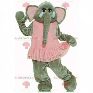 Grijze olifant mascotte met een roze tutu, danseres kostuum -