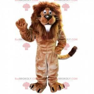 Hnědý svalnatý lev maskot s velkou hřívou - Redbrokoly.com