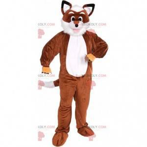 Mascotte volpe marrone e bianca, costume animale della foresta