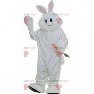 Reus en harig wit konijn mascotte, groot konijnenkostuum -