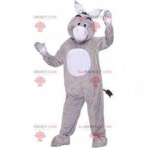 Mascotte grijze en witte ezel, kostuum reusachtige ezel -