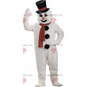 Mascot muñeco de nieve blanco, gigante, traje de montaña -