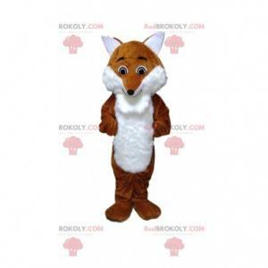 Mascota de zorro naranja y blanco, traje de bosque -
