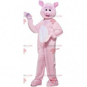 Reusachtig roze varken mascotte, volledig aanpasbaar -