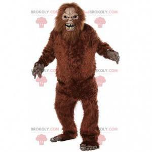 Bigfoot-mascotte, harig wezen, harig monsterkostuum -