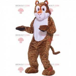 Hnědý a bílý tygr maskot s černými linkami - Redbrokoly.com