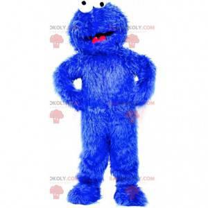 Cookie Monster mascotte, beroemde blauwe monster van