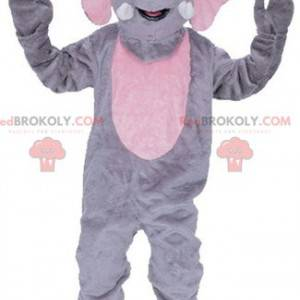 Kæmpe grå og lyserød elefantmaskot - Redbrokoly.com