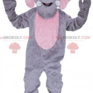 Mascota elefante gigante gris y rosa - Redbrokoly.com