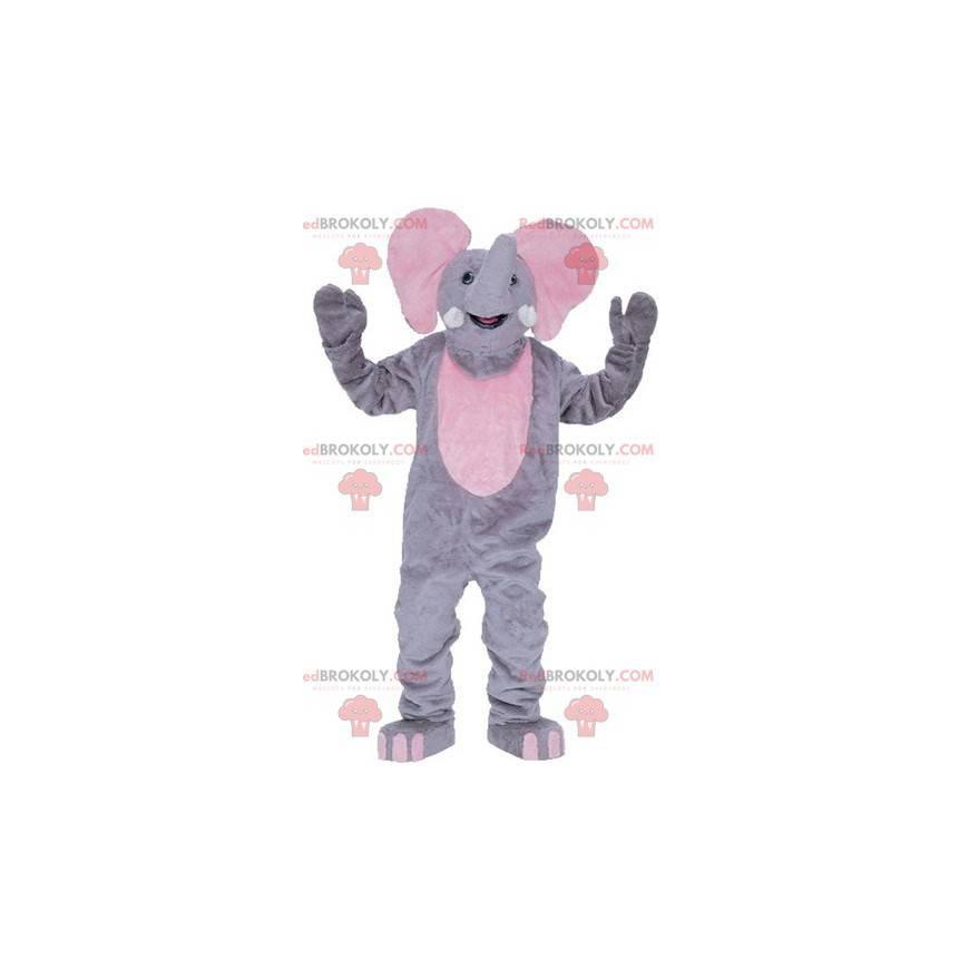Riesiges graues und rosa Elefantenmaskottchen - Redbrokoly.com