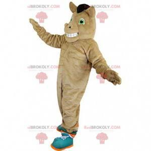 Mascota del caballo marrón, traje de centro ecuestre -
