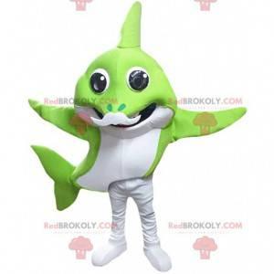 Mascote tubarão verde e branco com bigode branco -