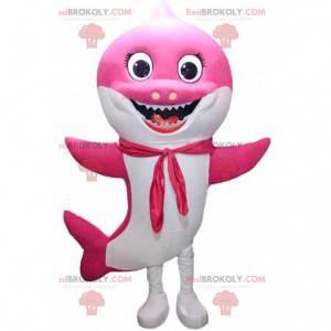 Mascota de tiburón rosa y blanco muy sonriente, traje de mar -