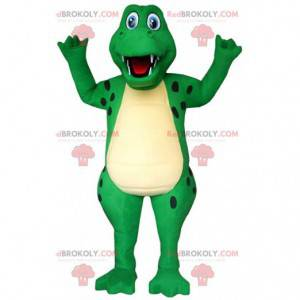 Groen en geel krokodil mascotte, alligator kostuum -