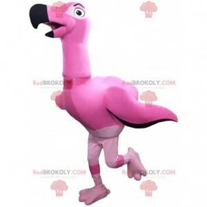 Maskot obrovský plameňák, velký růžový kostým ptáka -