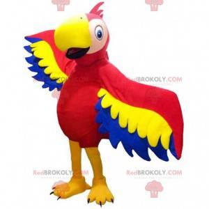 Maskot červený, žlutý a modrý papoušek, exotický kostým -