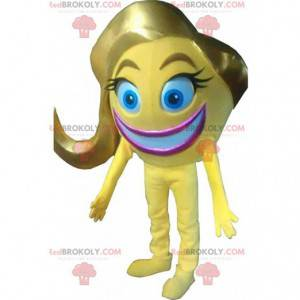 Mascote sorridente amarelo, emoticon, fantasia sorridente de