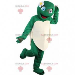 Vrouwelijke en lachende schildpadmascotte, schildpadkostuum -