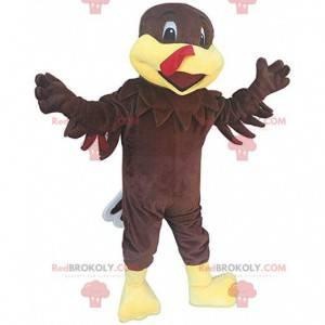 Mascota de pavo marrón y amarillo, traje de granja -