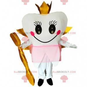 Gevleugelde tand mascotte met een kroon en een gouden borstel -