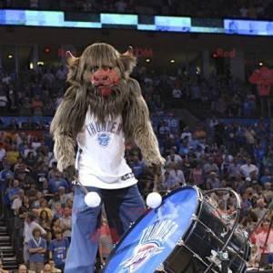 Mascote de búfalo marrom muito peludo - Redbrokoly.com