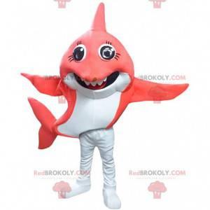 Mascote de tubarão vermelho e branco, fantasia de peixe grande