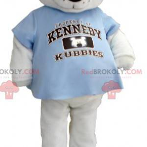 Polar bear mascot with a blue t-shirt - Redbrokoly.com