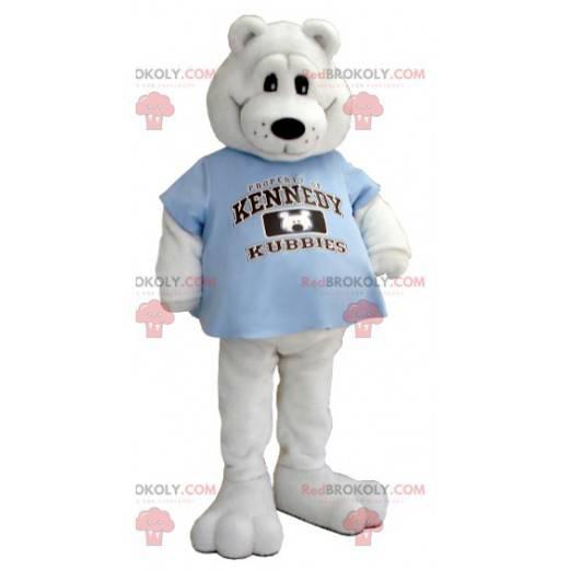 Eisbärenmaskottchen mit einem blauen T-Shirt - Redbrokoly.com