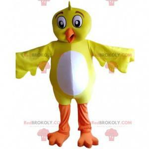 Gelbes und weißes Vogelmaskottchen, riesiges Kanarienkostüm -