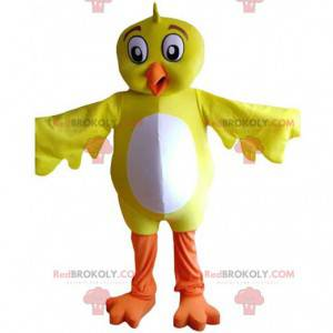 Yellow and white bird mascot, giant canary costume -