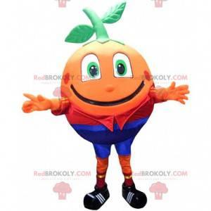 Mascote laranja gigante e sorridente, fantasia de frutas -