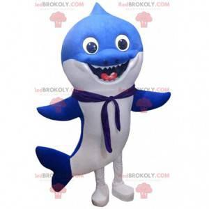 Mascote tubarão azul e branco, fantasia de mar - Redbrokoly.com