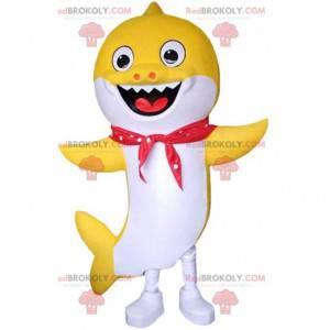 Mascote do tubarão amarelo e branco sorrindo, fantasia de mar -