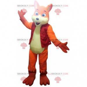 Orange und gelbes Fuchsmaskottchen, buntes Hundekostüm -