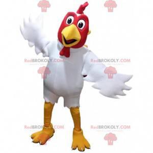 Mascote de galo branco e vermelho, fantasia de galinha gigante