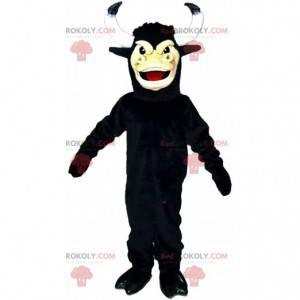 Mascote do touro preto com chifres grandes, fantasia de búfalo