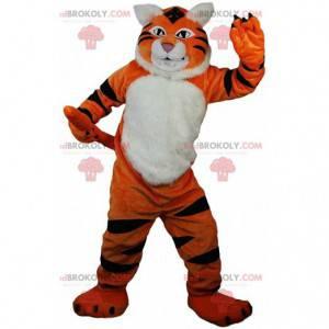 Orange, white and black tiger mascot, wild animal costume -