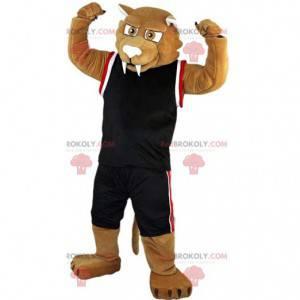 Beige saber-toothed tiger mascot in sportswear - Redbrokoly.com