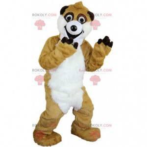 Reusachtige beige en witte meerkat mascotte, woestijnkostuum -