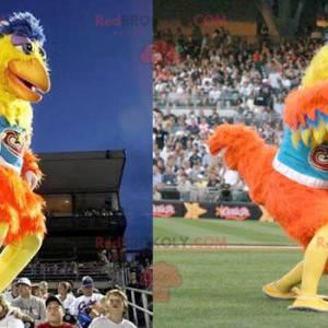 Mascote de galo de galinha amarelo laranja e azul -