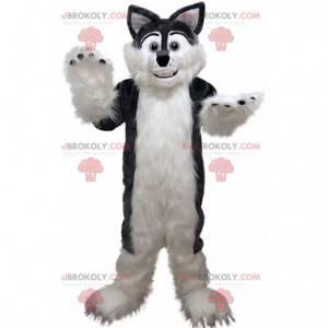 Šedý a bílý husky maskot, chlupatý a měkký kostým psa -