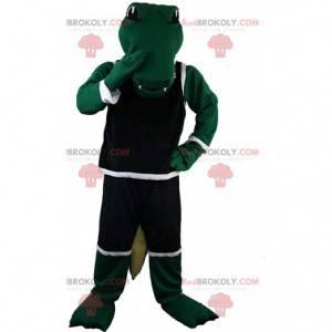 Mascotte coccodrillo verde in abbigliamento sportivo, costume