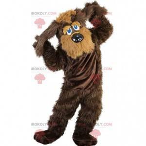Brązowo-beżowy pies maskotka, włochaty kostium foksteriera -