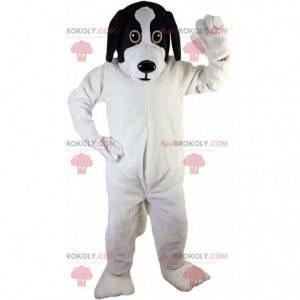 Weißes und schwarzes Hundemaskottchen, Plüschhündchenkostüm -
