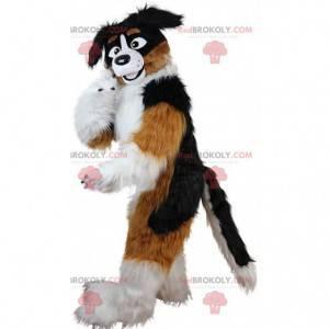 Mascota de perro tricolor, disfraz de perro suave y peludo -