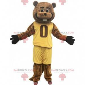 Mascotte castoro marrone vestita di abiti sportivi -