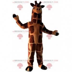 Mascote gigante girafa marrom e laranja, animal exótico -