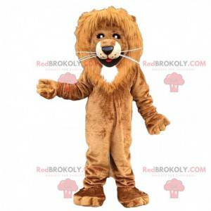 Brown and white lion mascot, hairy feline costume -