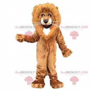 Hnědý a bílý lev maskot, chlupatý kočičí kostým - Redbrokoly.com