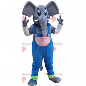 Elefant-maskot med overall, pachyderm-kostume - Redbrokoly.com